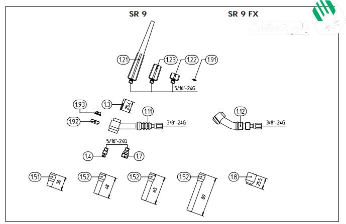 نقشه انفجاری گردنه sr9 تورچ بینزل